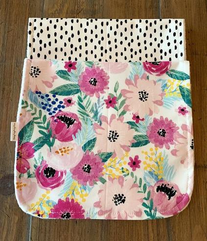 Floral Poppy Seed Personalized Bib & Burp Cloth Set
