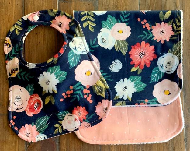 Floral Bouquet Personalized Bib & Burp Cloth Set