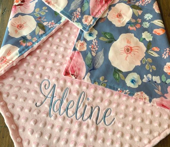 Peony Blooms Personalized Blanket