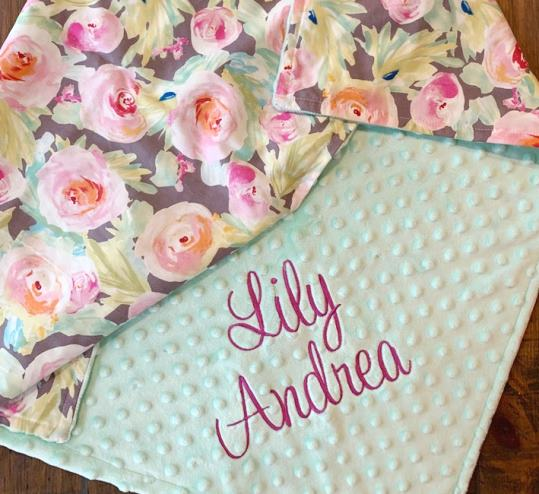 Bright Floral Personalized Baby Blanket