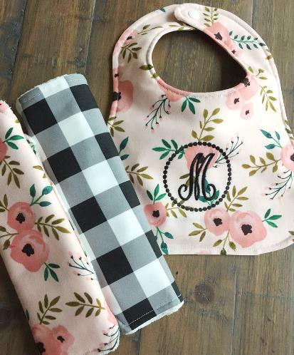 Sweet Pea Personalized Bib & Burp Cloth Set