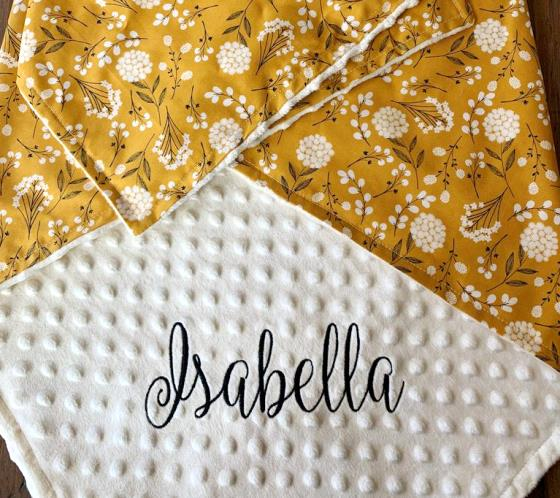 Golden Dandelion Personalized Baby Blanket
