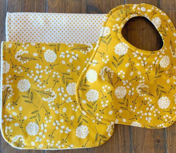 Golden Dandelion Personalized Bib & Burp Cloth Set
