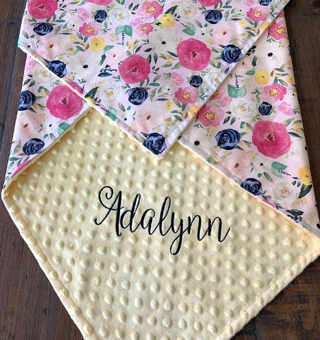 Spring Bouquet Personalized Baby Blanket