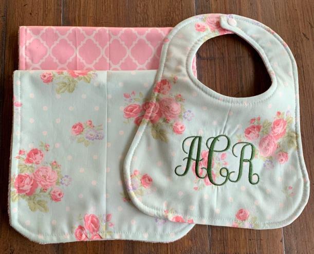 Floral Rose Personalized Bib & Burp Cloth Set