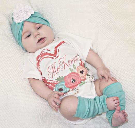 Personalized Valentine's Onesie, Hat and Leg Warmers Outfit Set