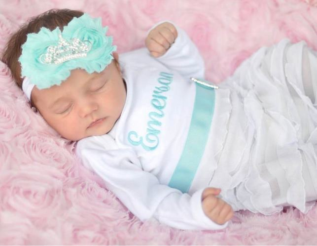 White and Aqua Personalized Newborn Princess Gown and Matching Headband Outfit Set