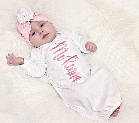 Personalized Newborn Girl Coming Home Gown and Matching Turban Hat