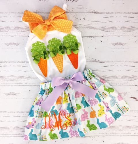 Easter Carrots Bunny Skirt Outfit