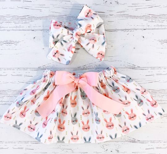 Baby Bunnies Easter Skirt and Matching Headband
