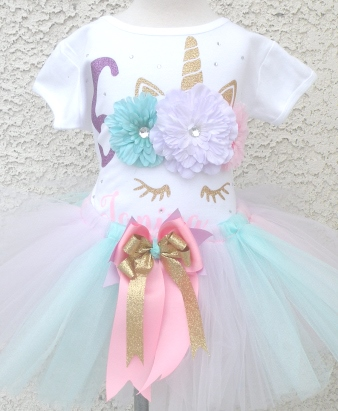 Personalized Floral Unicorn Birthday Tutu Outfit