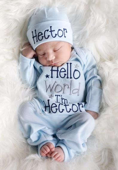 Boys Navy, Blue & Gray Hello World Personalized Newborn Romper with Matching Hat