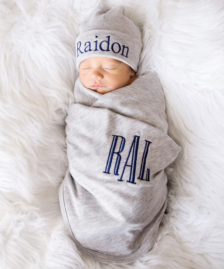 Boys Gray Personalized Swaddle Blanket with Matching Hat