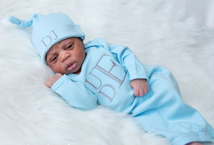 Boys Baby Blue Personalized Newborn Gown with Matching Hat