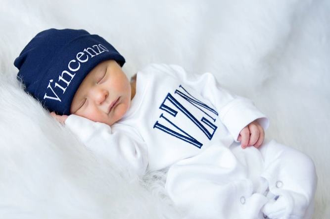 Boys White & Navy Personalized Newborn Romper with Matching Hat