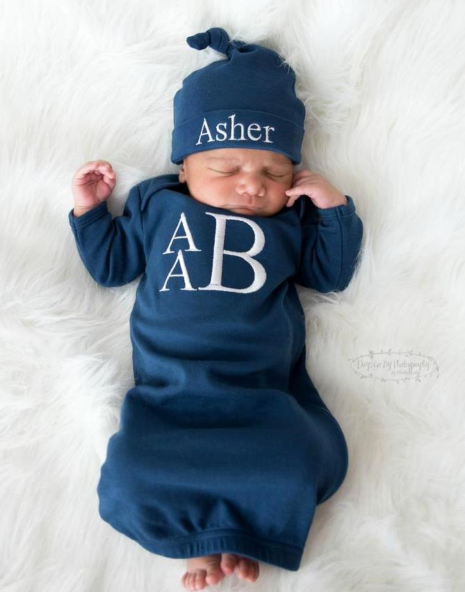 Boys Navy Personalized Newborn Gown and Matching Hat