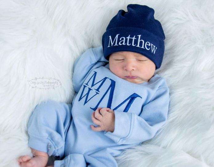 Boys Blue & Navy Personalized Newborn Romper with Matching Hat
