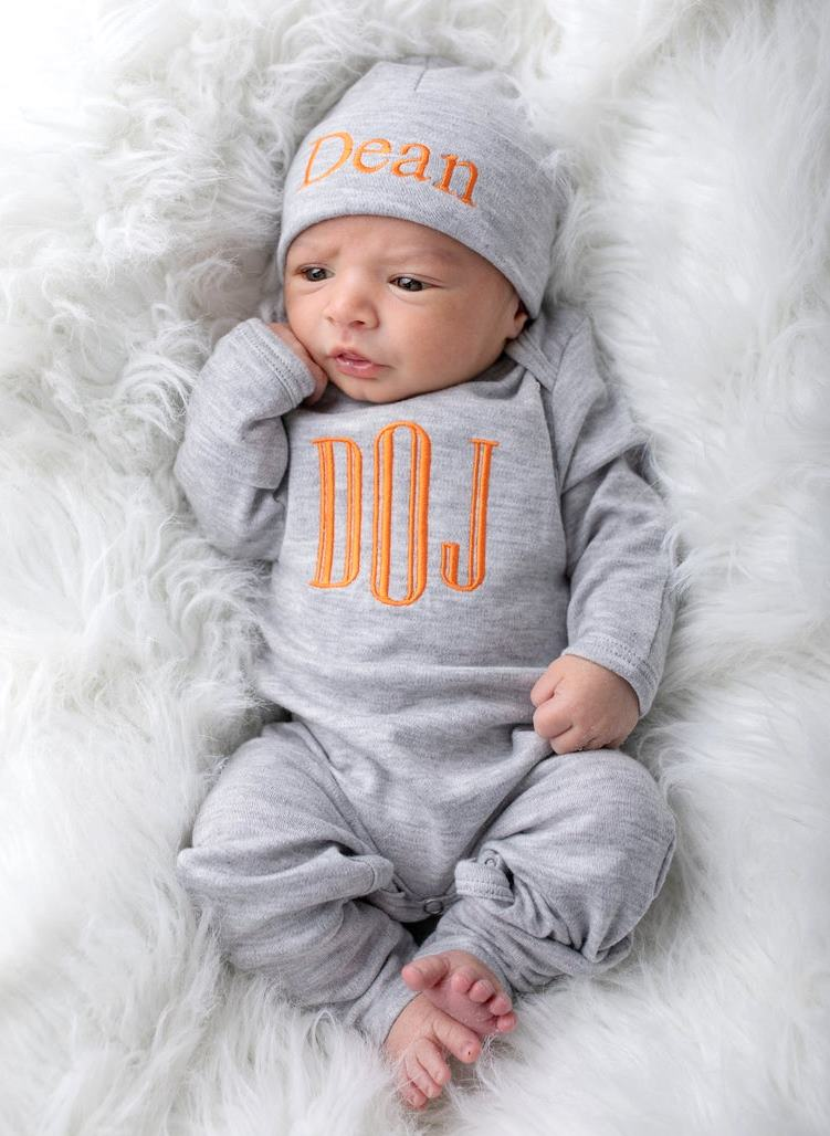Boys Gray & Orange Personalized Newborn Romper with Matching Hat