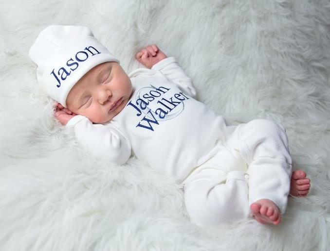 Boys White, Navy & Gray Personalized Newborn Romper with Matching Hat