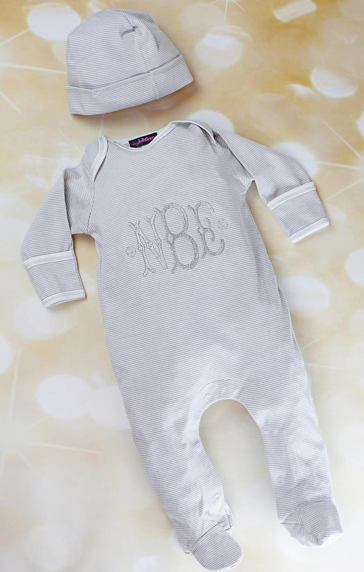 Boys Gray Striped Personalized Newborn Romper with Matching Hat