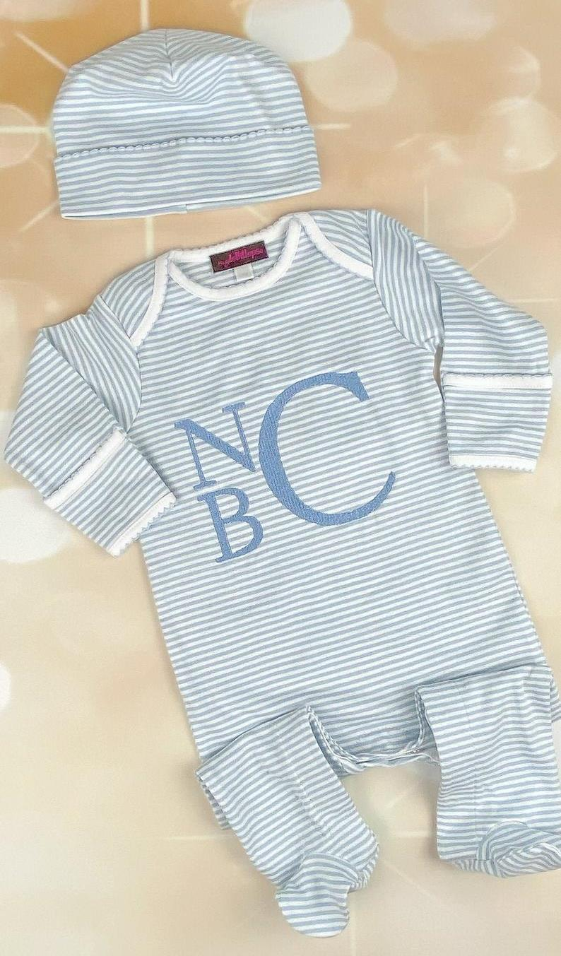 Boys Blue & White Striped Personalized Newborn Romper with Matching Hat