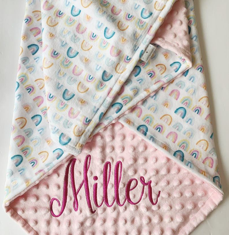 Baby Girl Rainbow Personalized Pink Minky Blanket