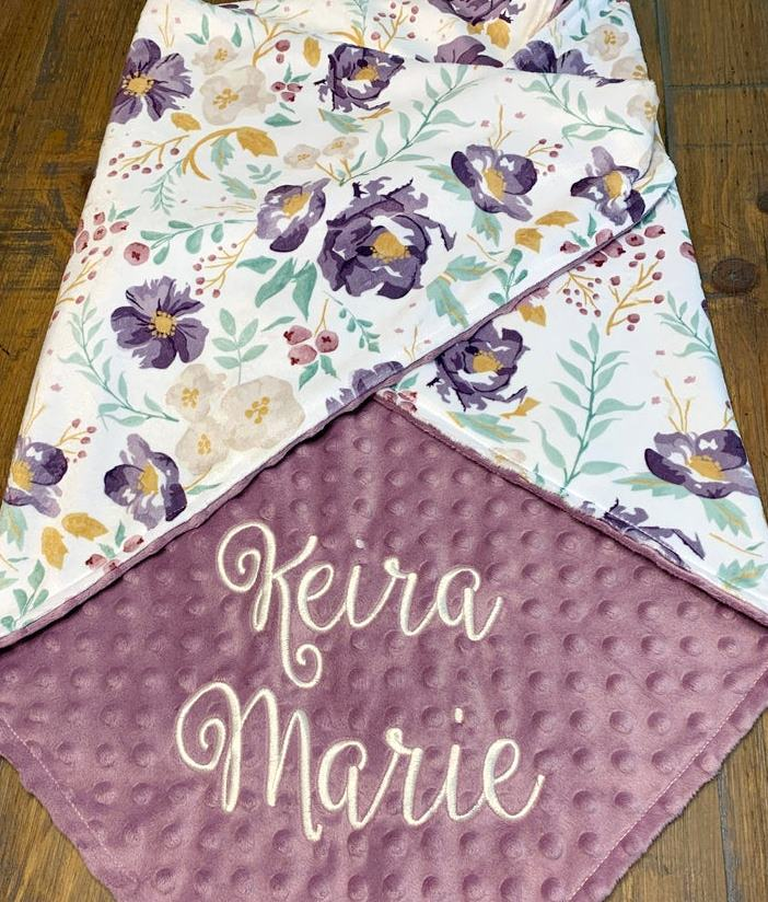 Baby Girl Lavender Floral Personalized Minky Blanket