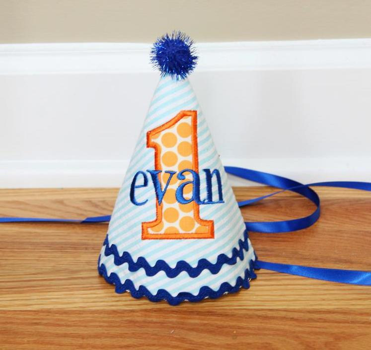 Blue & Orange Personalized Baby Boys 1st Birthday Party Hat