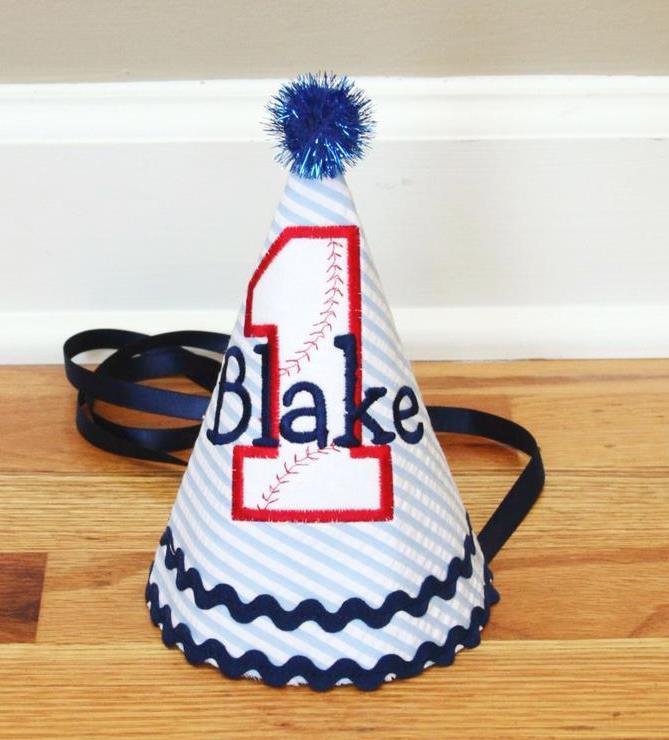 Baby Boys Baseball 1st Birthday Party Hat