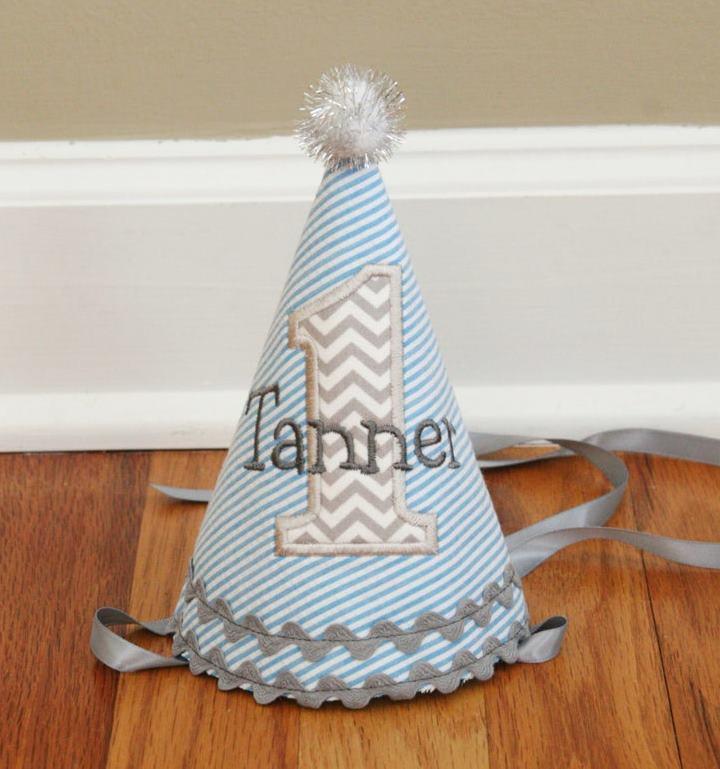 Seersucker Striped Blue & Grey Baby Boys 1st Birthday Party Hat