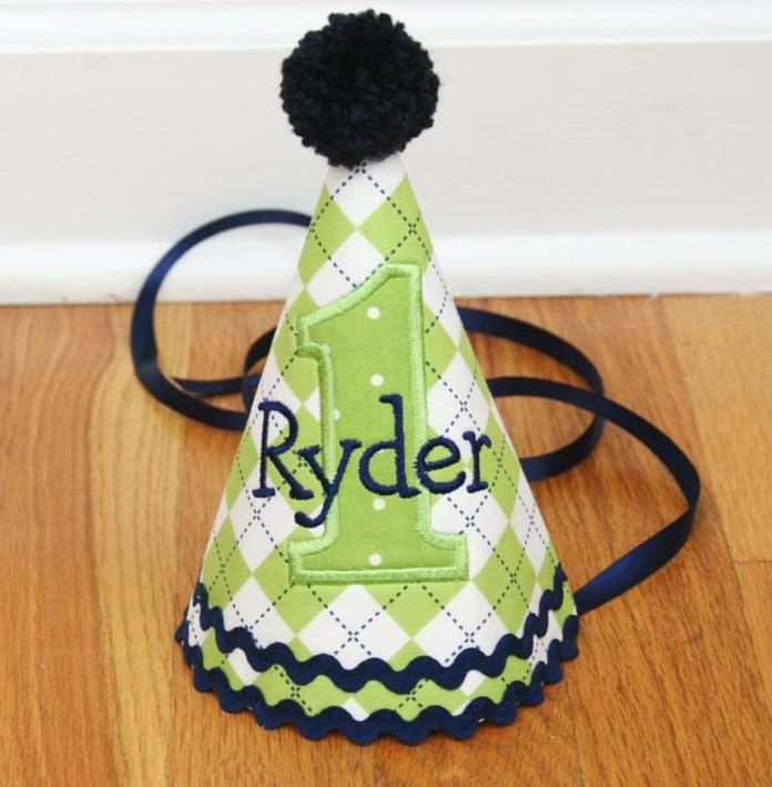 Green & Navy Personalized Baby Boys 1st Birthday Party Hat