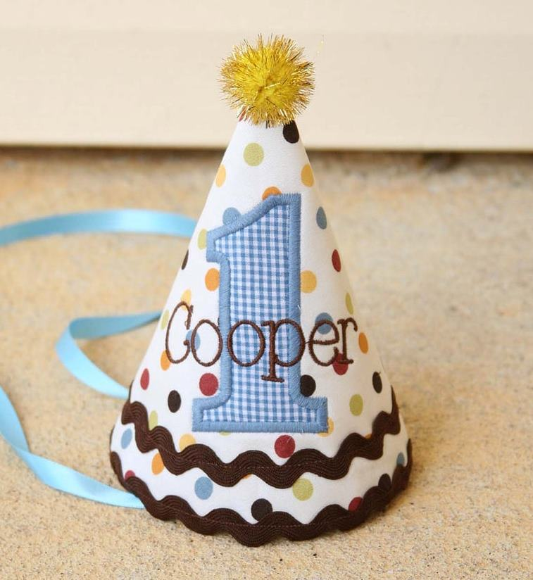 Gingham Dots Baby Boys 1st Birthday Party Hat