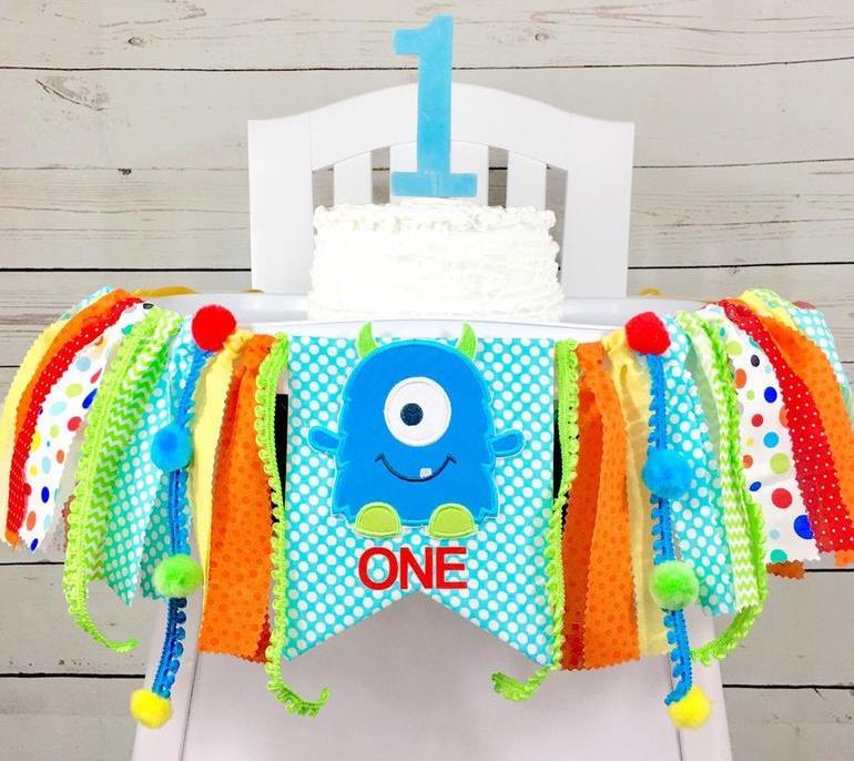 Baby Boys Monster 1st Birthday High Chair Banner