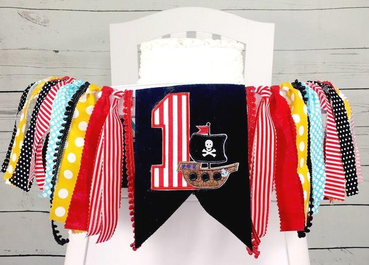 Baby Boys Pirate 1st Birthday High Chair Banner