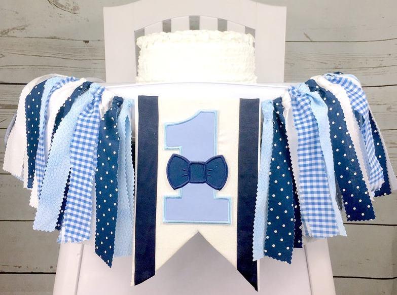 Baby Boys Blue Bowtie Suspenders 1st Birthday High Chair Banner