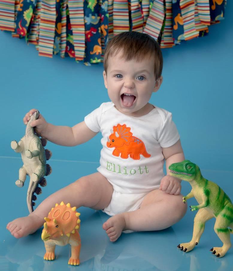 Baby Boys Dinosaur 1st Birthday Personalized Bodysuit