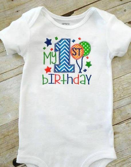 Baby Boys 1st Birthday Party Personalized Bodysuit