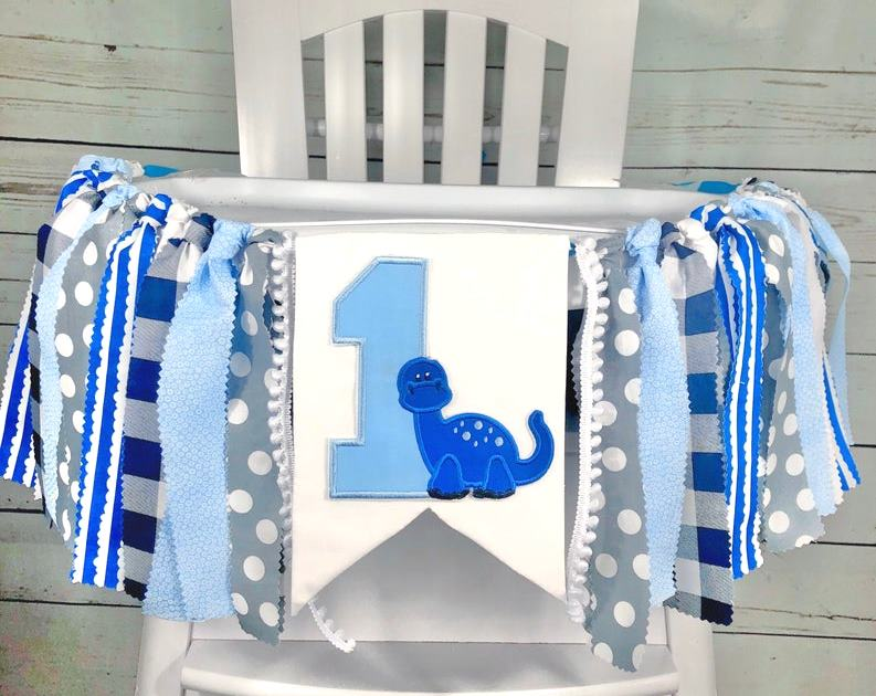 Baby Boys Blue Dinosaur 1st Birthday High Chair Banner