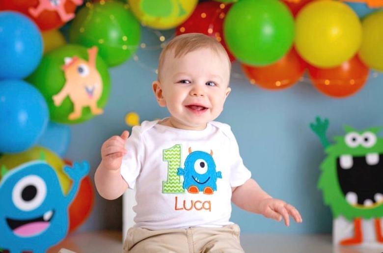 Baby Boys Monster 1st Birthday Personalized Bodysuit