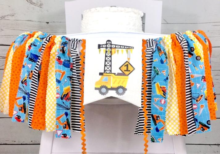 Boys 1st Birthday Construction Party Banner