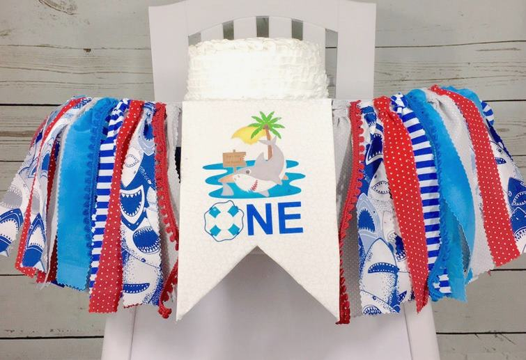 Baby Boys Pool Party 1st Birthday High Chair Banner