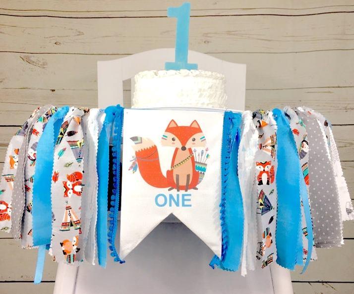Baby Boys Blue Tribal Fox 1st Birthday High Chair Banner