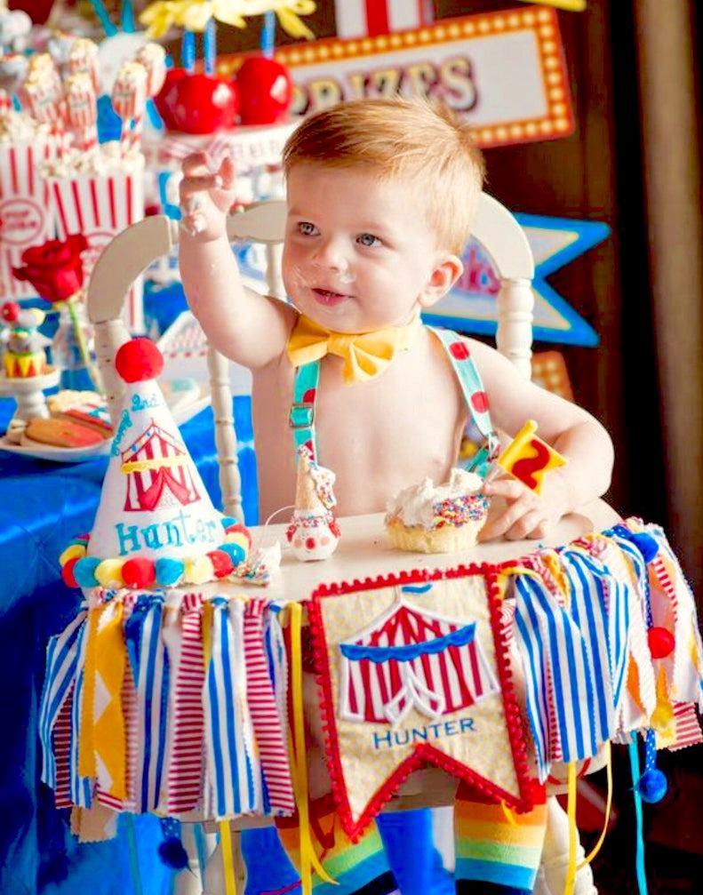 Baby Boys Circus 1st Birthday High Chair Banner