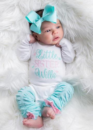 Aqua & Pink Personalized Newborn Little Sister Outfit