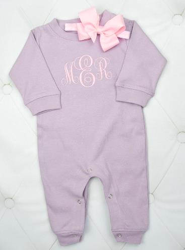 Lavender & Pink Personalized Romper with Matching Headband