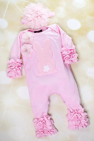 Pink Ruffle Bunny Romper with Matching Headband