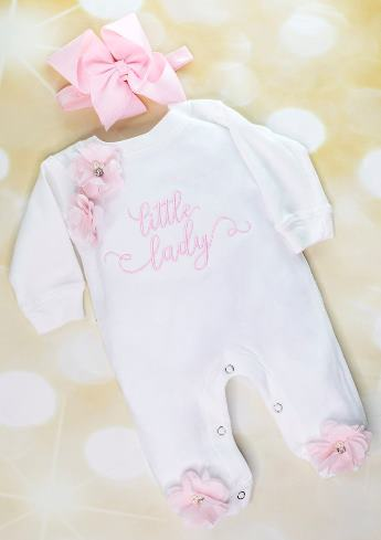 White & Pink Little Lady Romper with Matching Headband