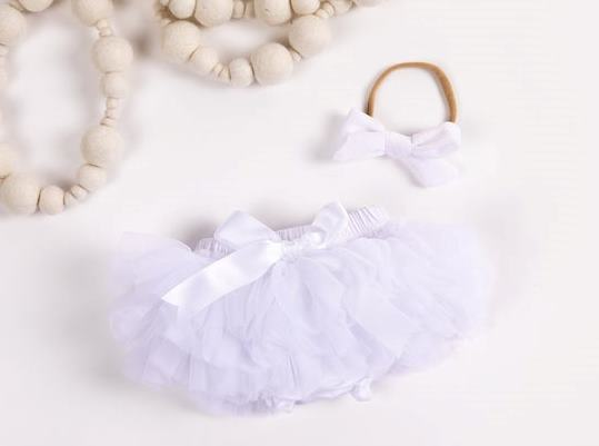 White Tutu Diaper Cover with Matching Headband