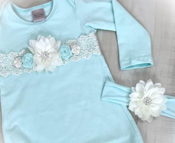 Soft Pale Mint Newborn Couture Tie Bottom Gown