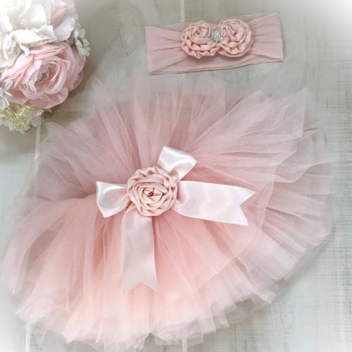 Blush Pink Newborn Tutu and Headband Set